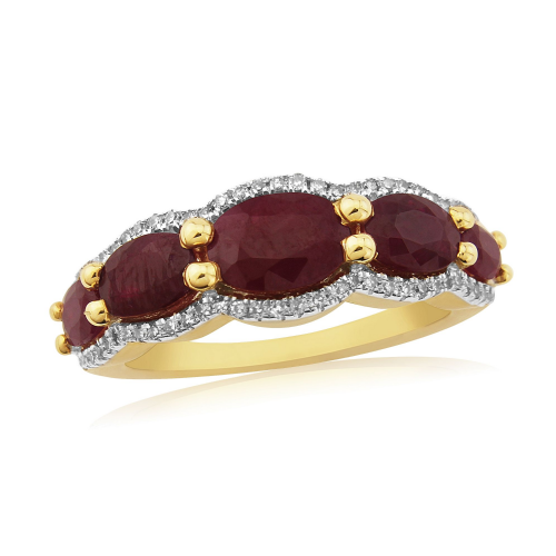 Fancy Yellow Gold Ruby And Diamond Eternity Ring